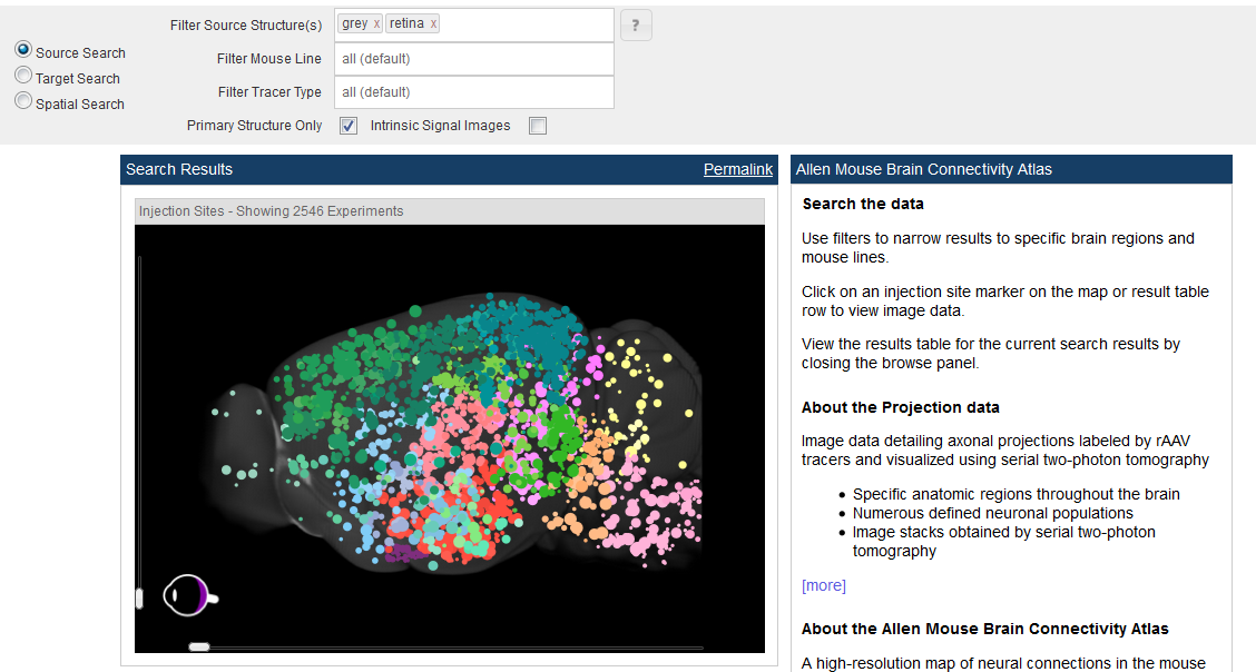 You Can Also Browse Experiments From The 3 D Search Result Visualization.  Hovering Your Mouse Over The Dots (colored According To The Reference Atlas)  Will ...